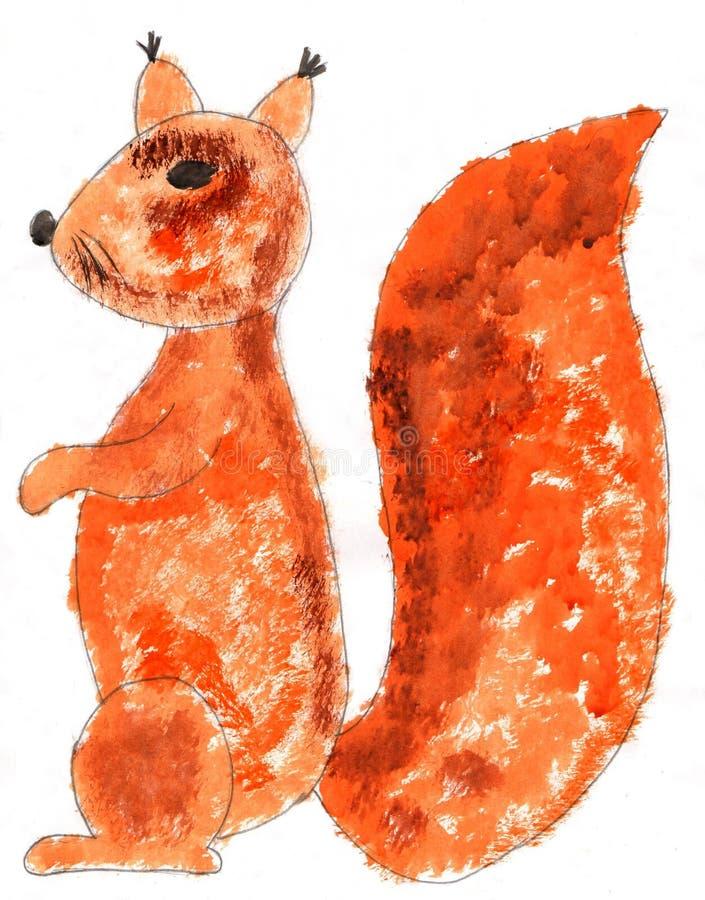 Czerwona wiewiórka w profilu na białym tle fotografia stock
