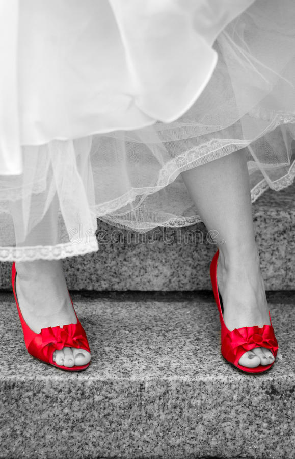 Czerwona wysokość heeled buty obrazy royalty free