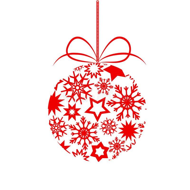 Czerwona wystrój choinki piłka z gwiazdy ans płatkami śniegu dla twój ilustracji