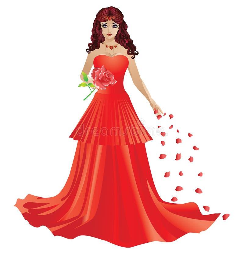 Czerwona z włosami dziewczyna w czerwieni sukni ilustracja wektor