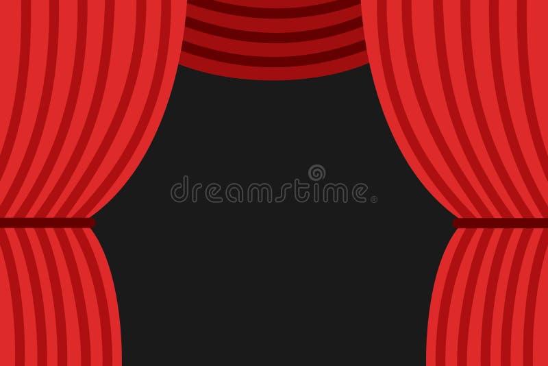 Czerwona zasłona na scenie w theatre otwiera royalty ilustracja