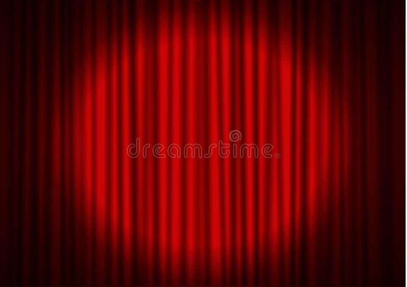 Czerwona zasłona z światłem reflektorów w teatrze Aksamitnej tkaniny zasłony kinowy wektor Światło reflektorów na zamknięty szors royalty ilustracja