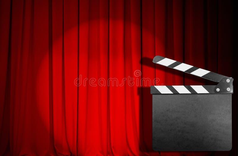 Czerwona zasłona z pustym filmu clapper zdjęcie stock