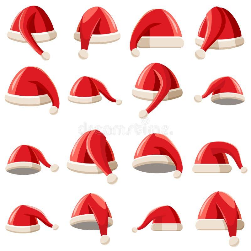 Czerwone Święty Mikołaj kapeluszowe ikony ustawiać, kreskówka styl ilustracja wektor