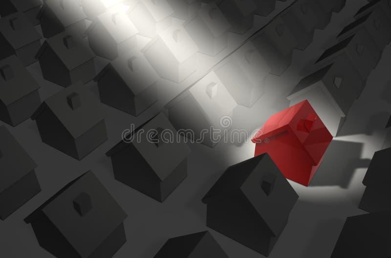 czerwone światło w domu royalty ilustracja