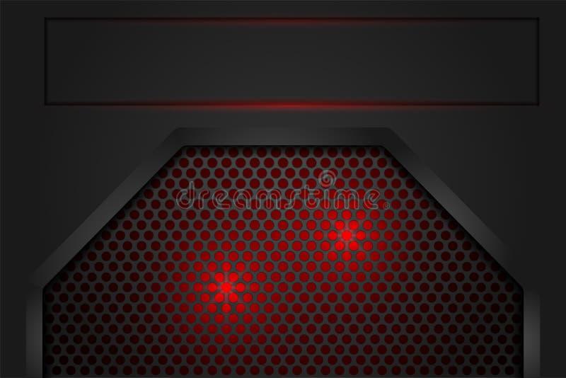 Czerwone światło w siatka cienia zmroku popielatym jako tło royalty ilustracja