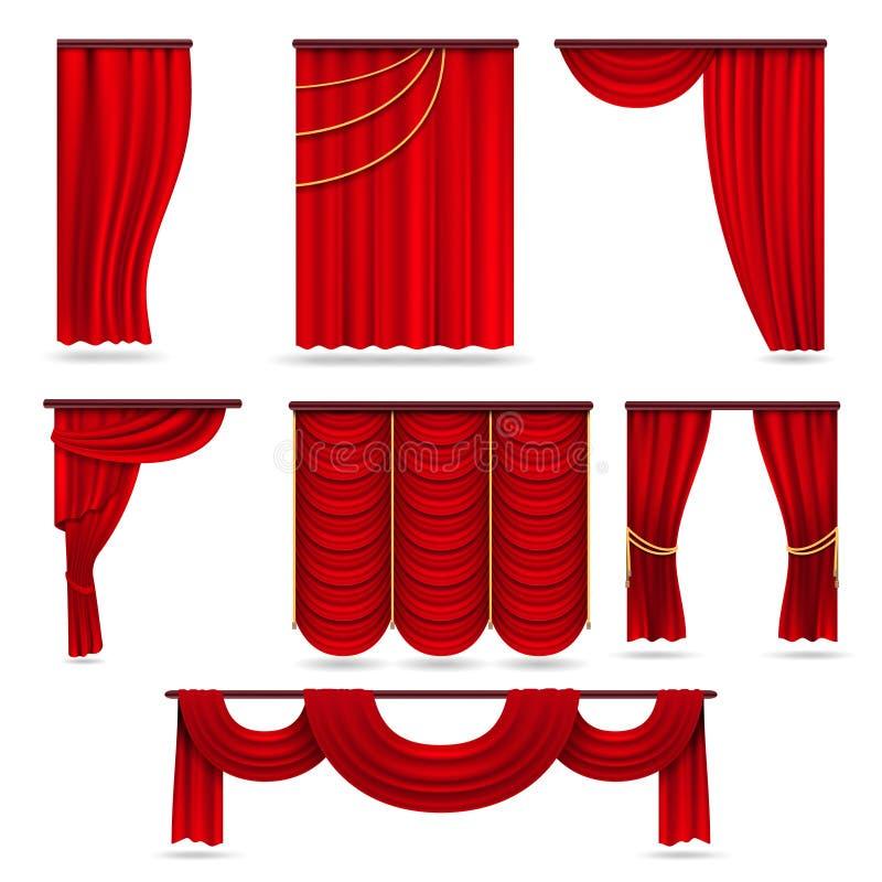 Czerwone aksamitne scen zasłony, szkarłatna theatre draperia odizolowywająca na białym wektoru secie ilustracja wektor