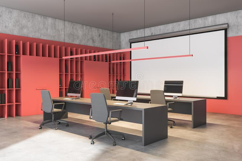 Czerwone biuro lub sala lekcyjna z tablicą ilustracja wektor