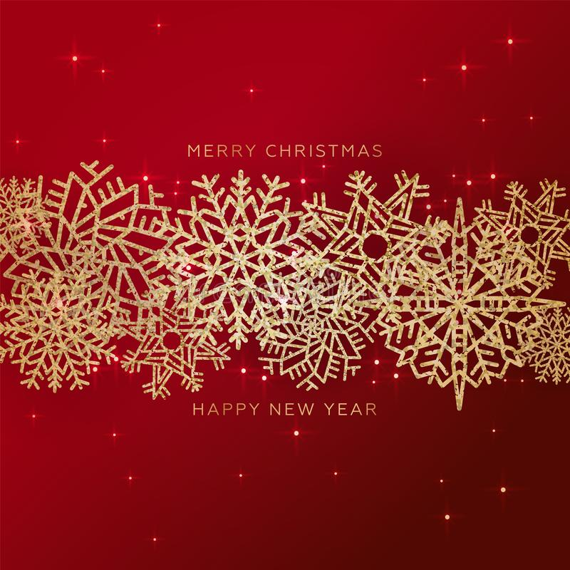 Czerwone bożonarodzeniowe tło z krawędzią z błyszczącego Cutout Gold konfetti Snowflakes Kartka z pozdrowieniami świątecznymi royalty ilustracja
