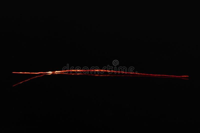 Czerwone chili nici odizolowywać na czarnym szkle fotografia royalty free