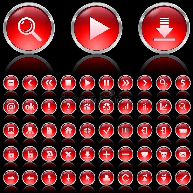 czerwone glansowane ikony ilustracji