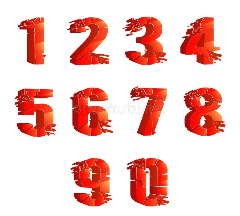 Czerwone glansowane krakingowe realistyczne liczby łamająca łamanie kawałków 3D cyfr dyskontowa dekoracja ustawia odosobnionego n royalty ilustracja
