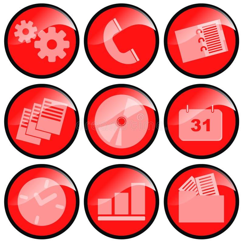 czerwone ikony ilustracja wektor