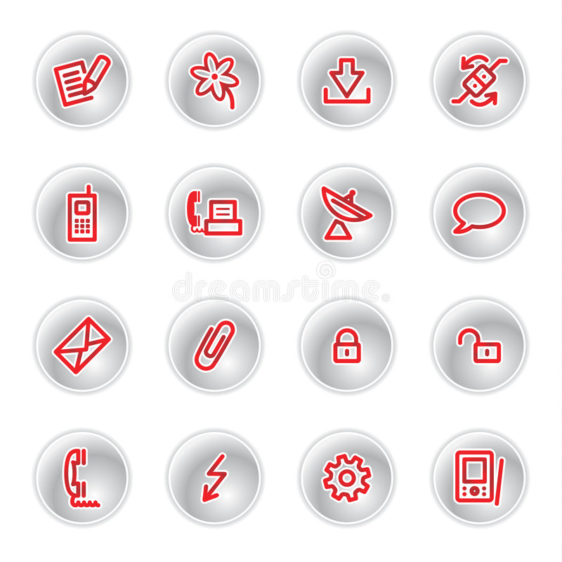 czerwone ikony komunikacyjnych ilustracji
