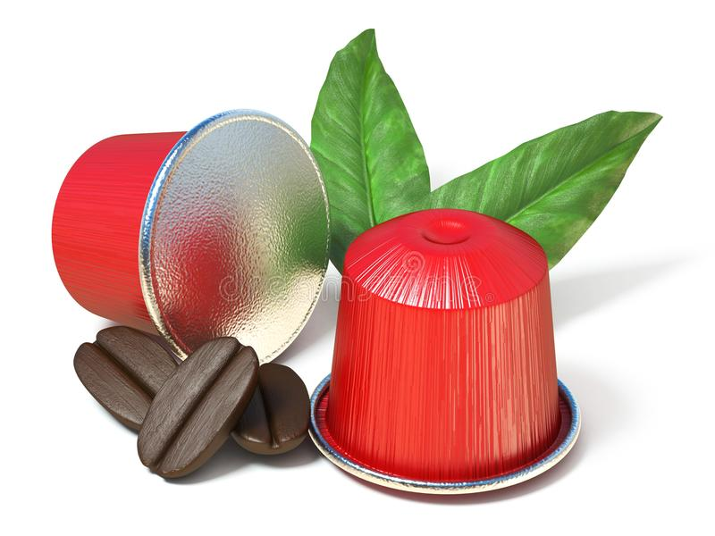 Czerwone kawowe kapsuły z kawowymi fasolami 3D i liśćmi ilustracji