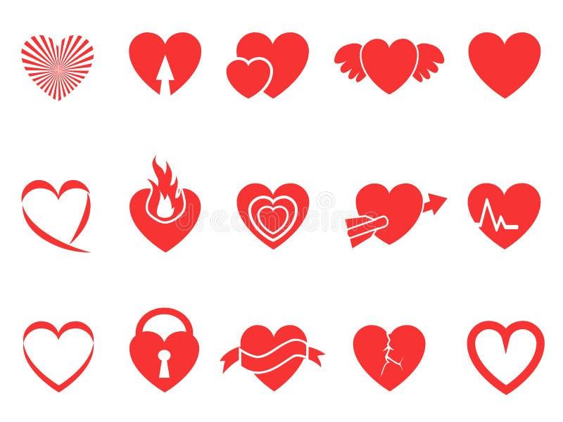 Czerwone kierowe ikony royalty ilustracja