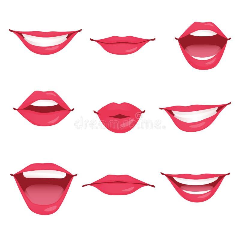 Czerwone kobiet wargi odizolowywać ilustracja wektor