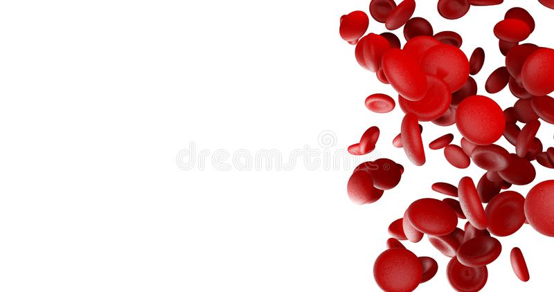 Czerwone komórki krwi na białej pustej przestrzeni na lewej stronie royalty ilustracja