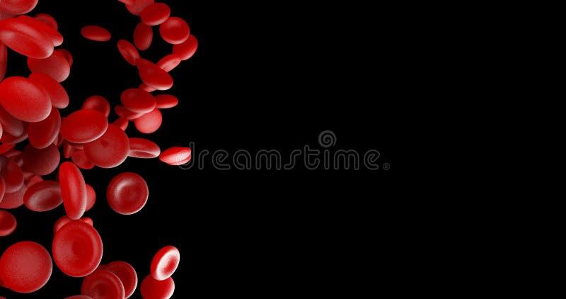 Czerwone komórki krwi na czarnej pustej przestrzeni na prawej stronie ilustracja wektor