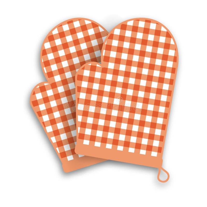 Czerwone kuchenne rękawiczki ilustracja wektor