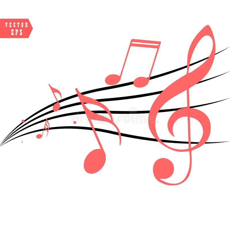 Czerwone Muzykalne notatki w spływanie projekcie elementy w realistycznym stylu, wektorowa ilustracja ilustracji
