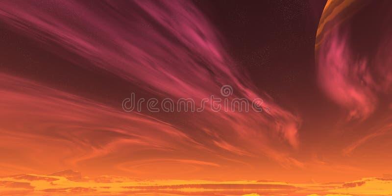 czerwone niebo ilustracji