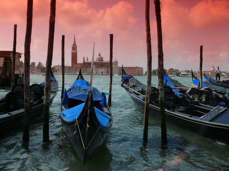 czerwone niebo w Wenecji zdjęcia royalty free