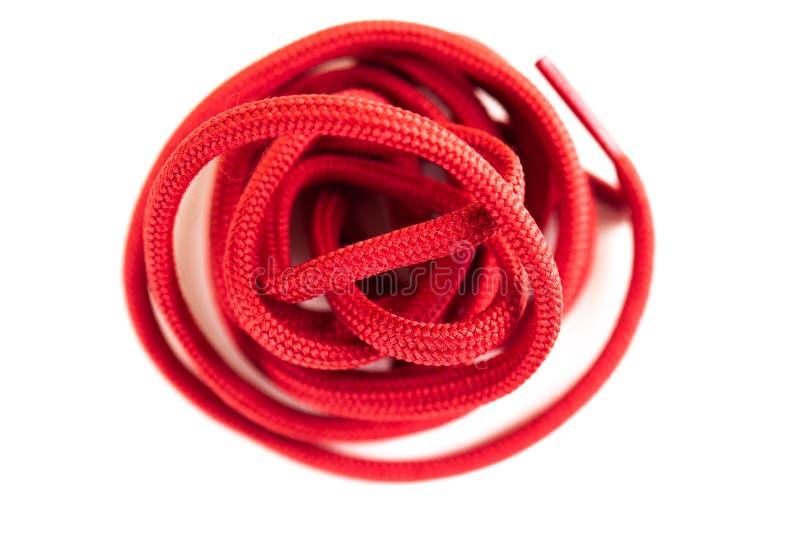 Czerwone obuwiane koronki fotografia stock