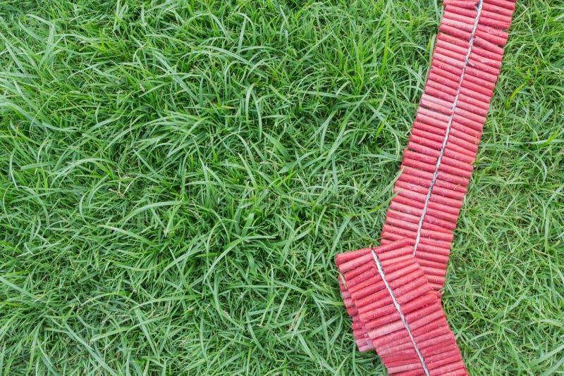 Czerwone petardy na zielonym gazonie zdjęcie stock