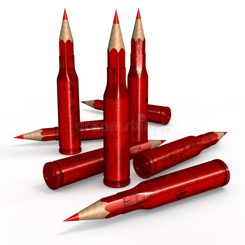 Czerwone pióro amunicje royalty ilustracja