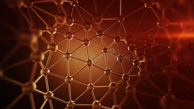 Czerwone plexus linie i guzek sieci abstrakcjonistyczny 3D rendering ilustracja wektor