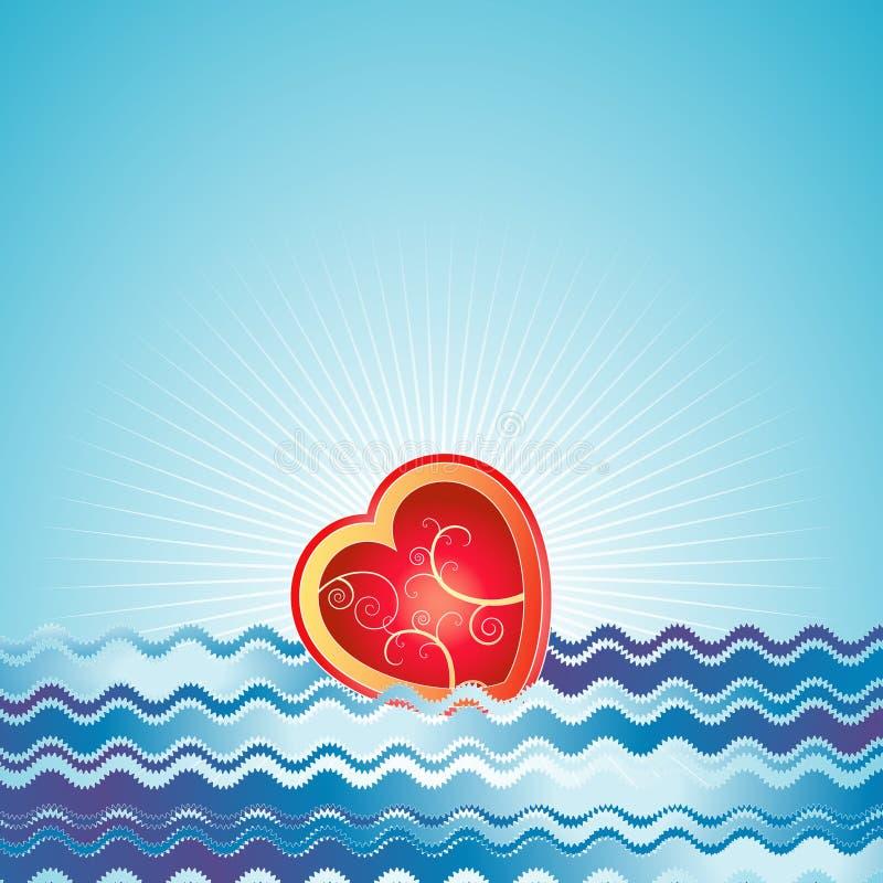 czerwone położenie valentines serce royalty ilustracja