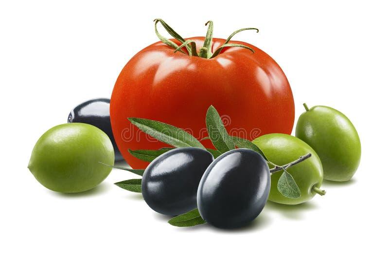 Czerwone pomidoru, zielonych i czarnych oliwki odizolowywać na białym tle, obrazy royalty free
