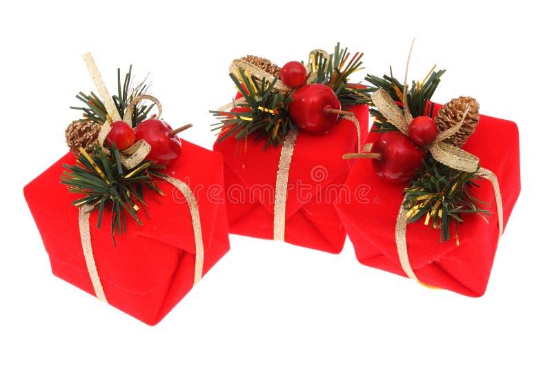 czerwone prezenty świąteczne zdjęcia stock
