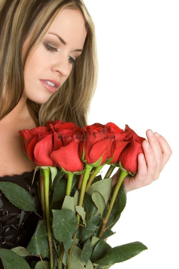 czerwone róże dziewczyn. zdjęcia royalty free