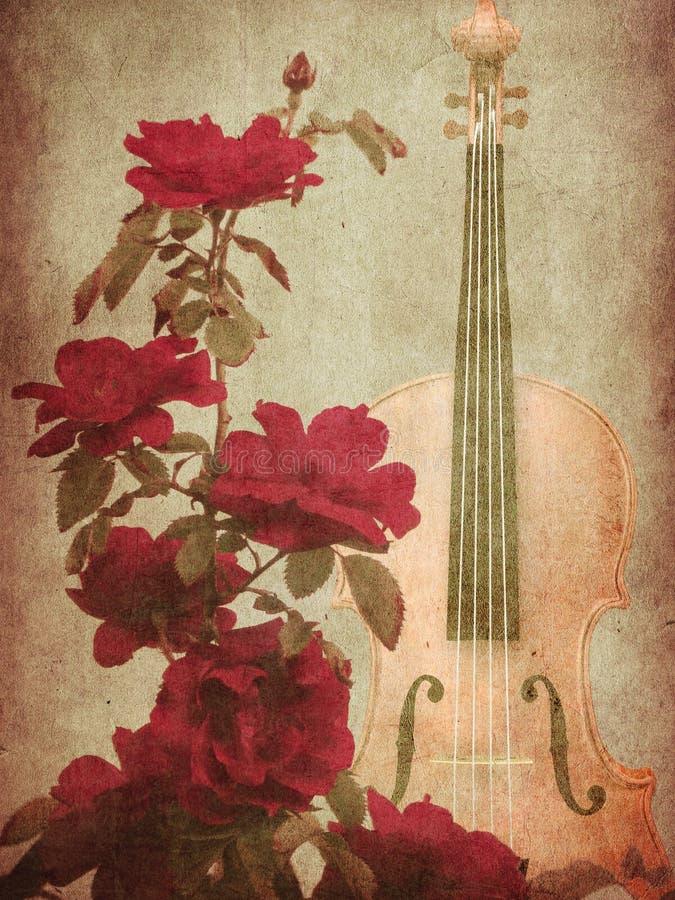 Czerwone róże i skrzypce royalty ilustracja