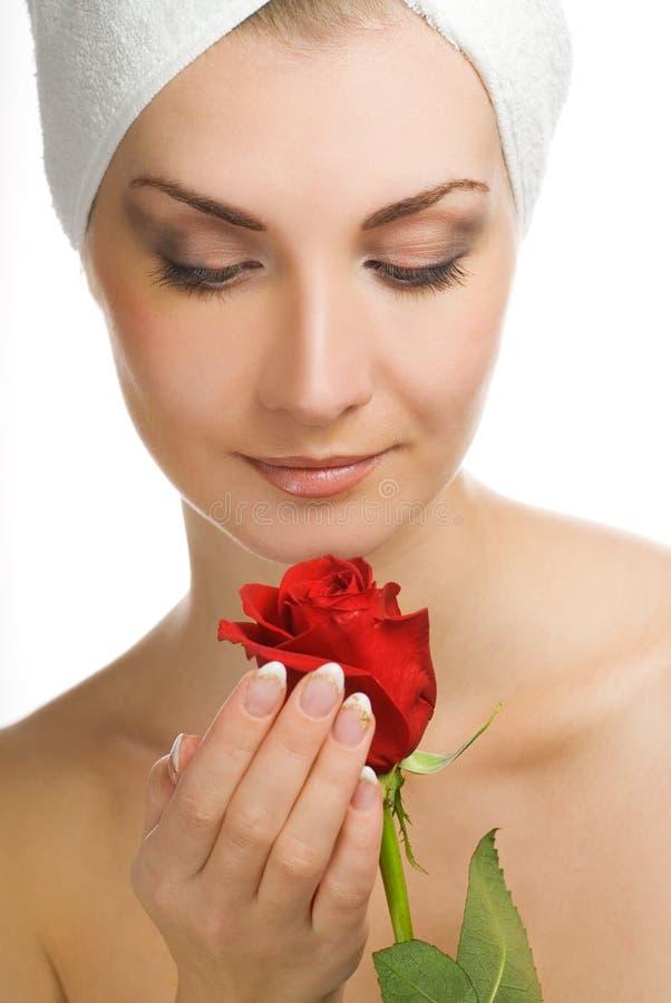 czerwone róże kobiecie obraz royalty free