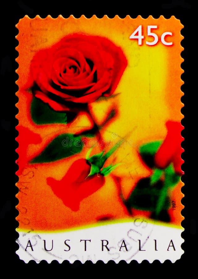 Czerwone róże, powitanie stemplują - Romansowego seria około 1997, obrazy stock