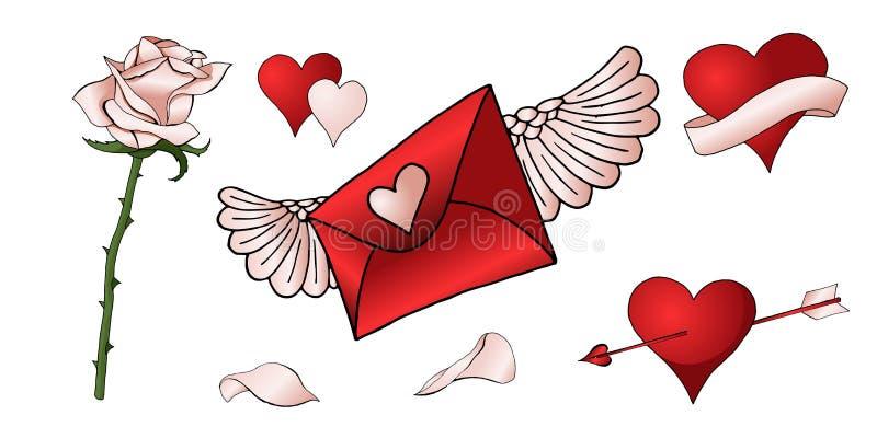 Czerwone róże, serca i inni elementy, wręczają rysującego barwionego set ilustracji