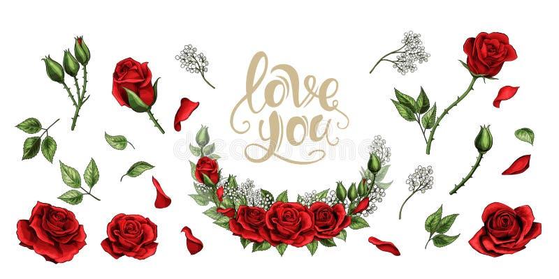 Czerwone róże wręczają patroszeni ilustracyjni elementy barwiącego set ilustracja wektor