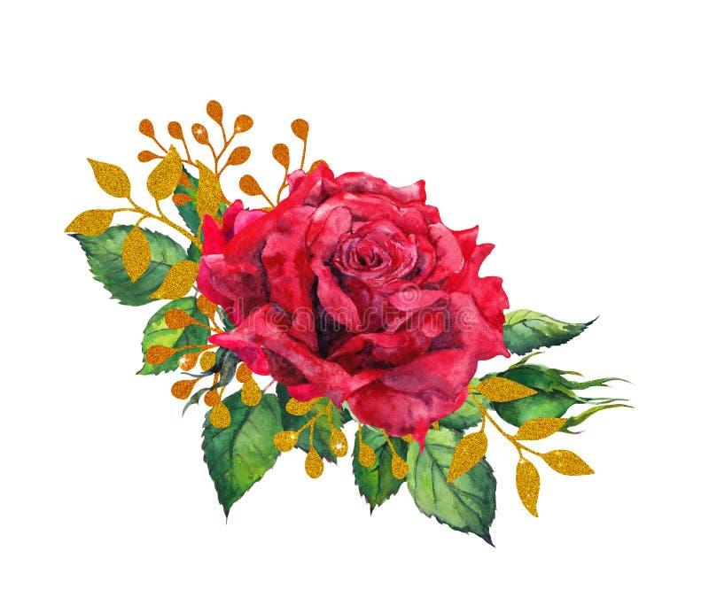 Czerwone róże z złotymi liśćmi Akwarela obrazu kwiat ilustracji