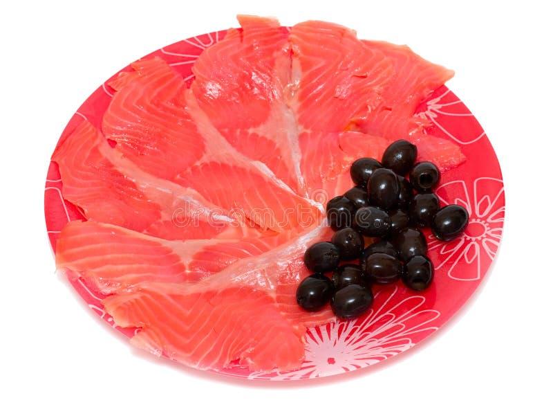 czerwone rybie oliwki obraz stock