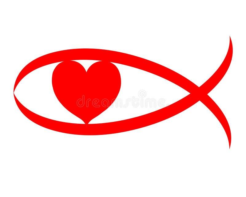 czerwone serce chrześcijański symbol znak miłości royalty ilustracja