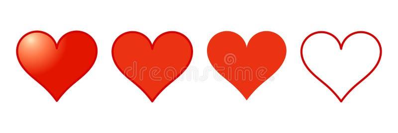 Czerwone serce ikony ustawia? ilustracja wektor