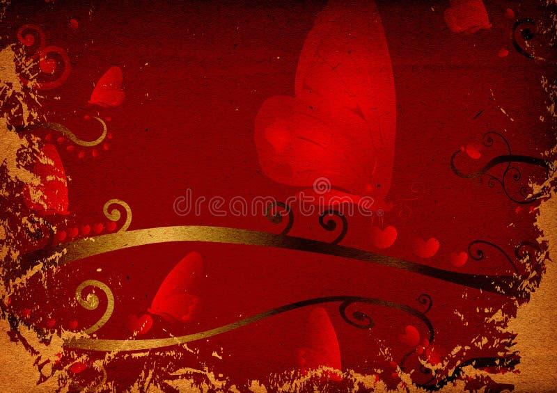 czerwone serce motyla ilustracji