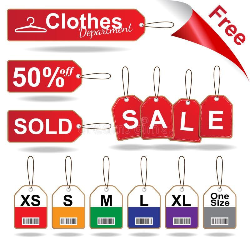 Czerwone sprzedaży etykietki, wielkościowa etykietka i zaszyci etykietek ubrania, ustawiają wektorową ilustrację ilustracji