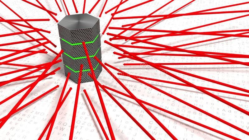 Czerwone strzała wskazuje w kierunku serwer przemoc atakują pojęcie royalty ilustracja