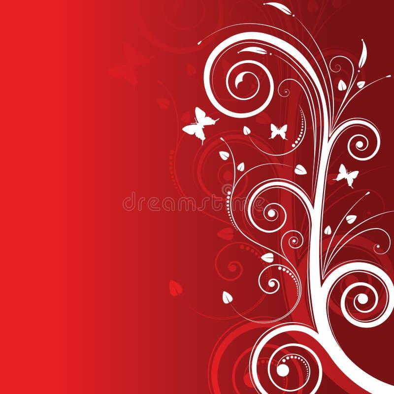czerwone tło kosmosie tekstu magiczne drzewo ilustracja wektor