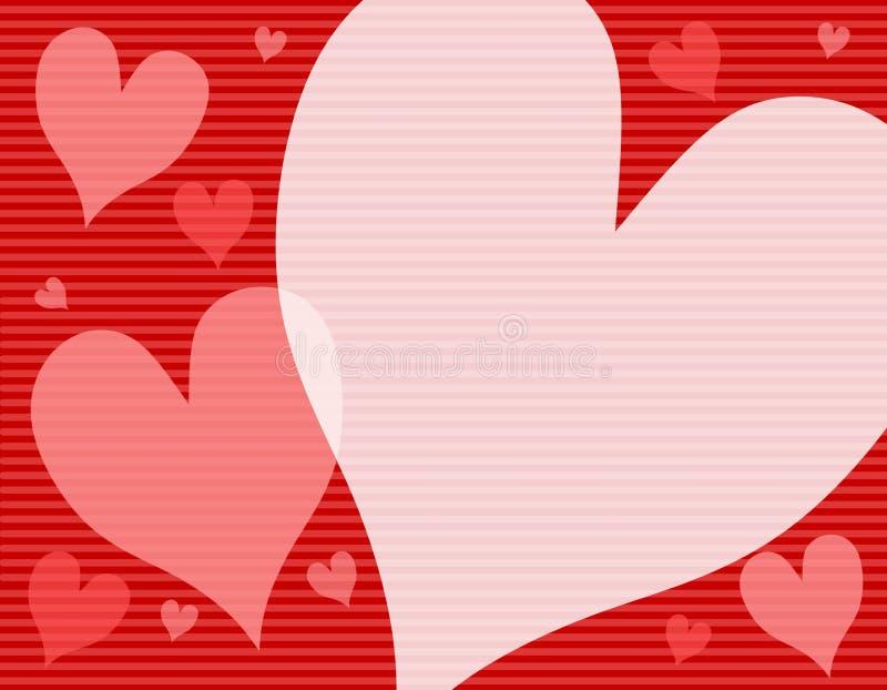 czerwone tło serc różowe nieprzezroczyści paski royalty ilustracja