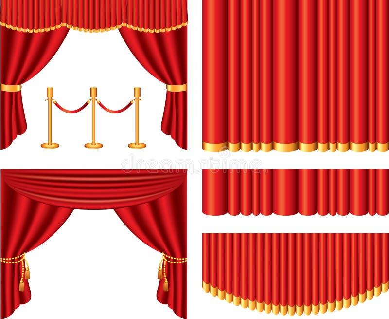 Czerwone teatr zasłony ustawiać royalty ilustracja
